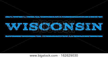Wisconsin watermark stamp. Text tag between horizontal parallel lines with grunge design style. Rubber seal stamp with unclean texture. Vector blue color ink imprint on a black background.