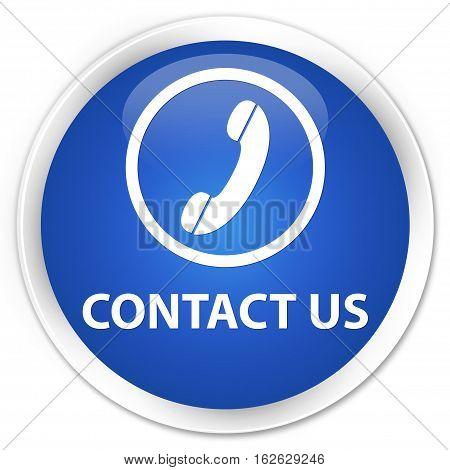 Contact Us (phone Icon Round Border) Premium Blue Round Button