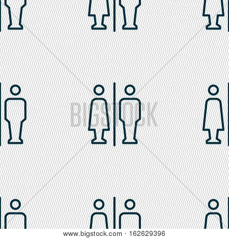 Man & Woman Restroom Icon Sign. Seamless Pattern With Geometric Texture. Vector
