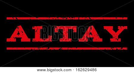 Altay watermark stamp. Text tag between horizontal parallel lines with grunge design style. Rubber seal stamp with dirty texture. Vector red color ink imprint on a black background.