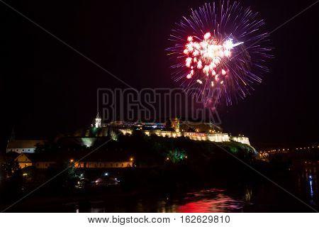 NOVI SAD - JULY 10 : FIREWORKS FOR OPENING NIGHT AT EXIT 2015 MUSIC FESTIVAL JULY 10 2015 IN NOVI SAD PETROVARADIN FORTRESS SERBIA