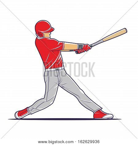 Vector illustration of a baseball player hitting the ball. summer sports team game.