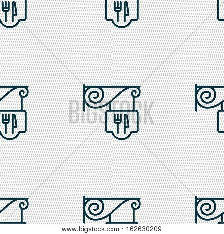Restaurant Icon Sign. Seamless Pattern With Geometric Texture. Vector