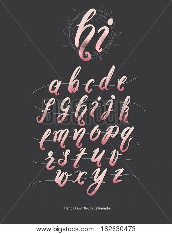 Handwritten calligraphy quote font - letters.Typo letter.