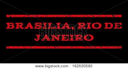 Brasilia, Rio De Janeiro watermark stamp. Text caption between horizontal parallel lines with grunge design style. Rubber seal stamp with unclean texture.