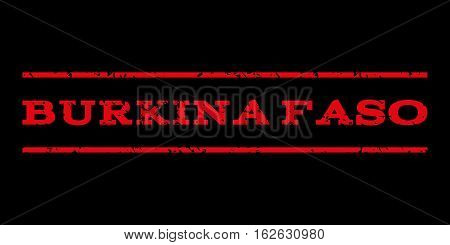 Burkina Faso watermark stamp. Text tag between horizontal parallel lines with grunge design style. Rubber seal stamp with scratched texture. Vector red color ink imprint on a black background.
