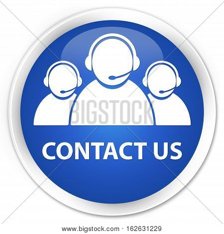 Contact Us (customer Care Team Icon) Premium Blue Round Button