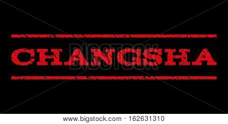 Changsha watermark stamp. Text tag between horizontal parallel lines with grunge design style. Rubber seal stamp with dirty texture. Vector red color ink imprint on a black background.