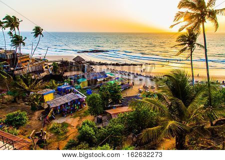 Pacific Ocean in the seaside of Anjuna, Goa, India