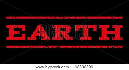 Earth watermark stamp. Text caption between horizontal parallel lines with grunge design style. Rubber seal stamp with scratched texture. Vector red color ink imprint on a black background.