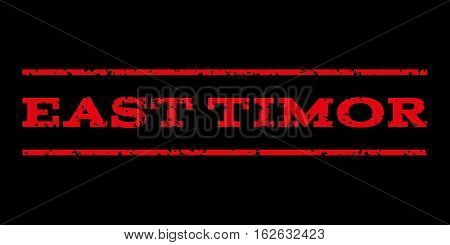 East Timor watermark stamp. Text caption between horizontal parallel lines with grunge design style. Rubber seal stamp with scratched texture. Vector red color ink imprint on a black background.