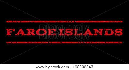 Faroe Islands watermark stamp. Text caption between horizontal parallel lines with grunge design style. Rubber seal stamp with scratched texture. Vector red color ink imprint on a black background.