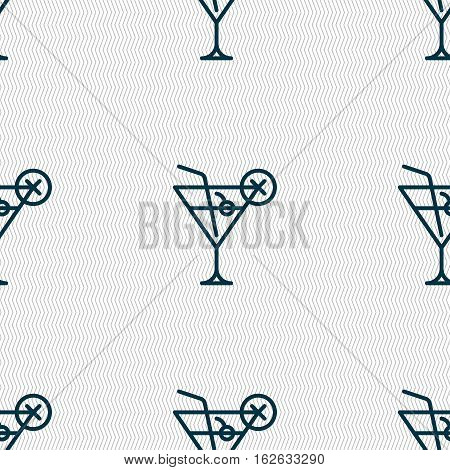 Martini Glass Icon Sign. Seamless Pattern With Geometric Texture. Vector