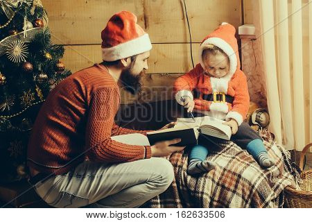 Christmas Bearded Father And Boy