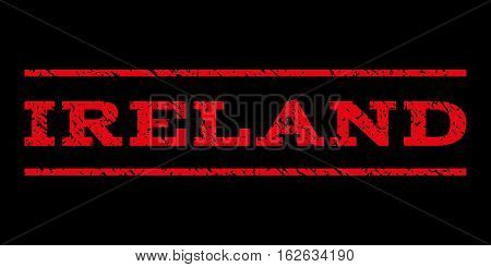 Ireland watermark stamp. Text tag between horizontal parallel lines with grunge design style. Rubber seal stamp with dirty texture. Vector red color ink imprint on a black background.