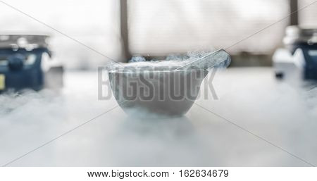 Laboratory Experiment With Liquid Nitrogen In Laboratory Mortar