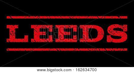 Leeds watermark stamp. Text caption between horizontal parallel lines with grunge design style. Rubber seal stamp with unclean texture. Vector red color ink imprint on a black background.