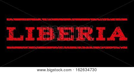 Liberia watermark stamp. Text tag between horizontal parallel lines with grunge design style. Rubber seal stamp with scratched texture. Vector red color ink imprint on a black background.