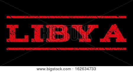 Libya watermark stamp. Text caption between horizontal parallel lines with grunge design style. Rubber seal stamp with unclean texture. Vector red color ink imprint on a black background.