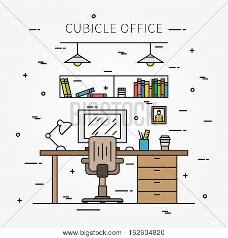 Working place with furniture and equipment lamp desktop table chair line vector illustration. Ergonomic workplace creative concept. Minimalistic office interior graphic design.