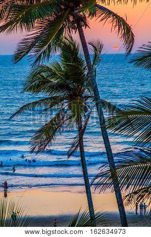 Pacific Ocean at sunset, Palm Beach, Anjuna Goa, India