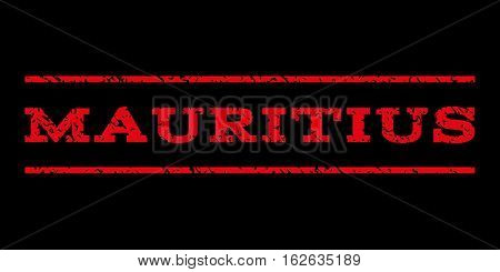 Mauritius watermark stamp. Text tag between horizontal parallel lines with grunge design style. Rubber seal stamp with dirty texture. Vector red color ink imprint on a black background.