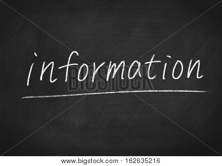 information concept word text on blackboard background