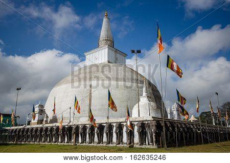 Ruwanweli seya Dagoba buddhist stupa tourist and pilgrimage site. Anuradhapura, Sri Lanka