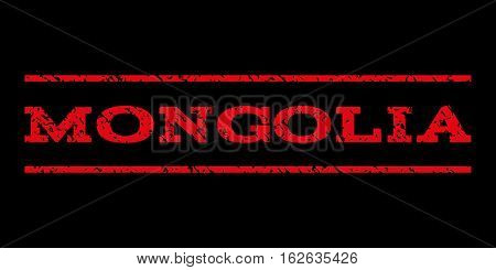 Mongolia watermark stamp. Text caption between horizontal parallel lines with grunge design style. Rubber seal stamp with dirty texture. Vector red color ink imprint on a black background.