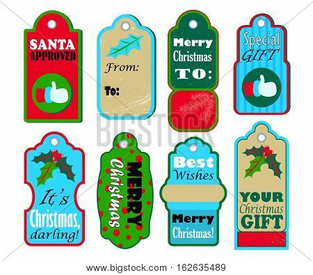 Christmas gift tags vector set on white background. Red and blue seasonal stickers for sale or discount offer. Merry Christmas and Best wishes labels for present wrapping. Santa thumb like and holly