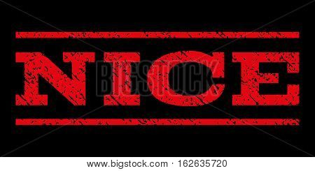 Nice watermark stamp. Text tag between horizontal parallel lines with grunge design style. Rubber seal stamp with dirty texture. Vector red color ink imprint on a black background.