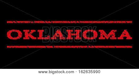 Oklahoma watermark stamp. Text tag between horizontal parallel lines with grunge design style. Rubber seal stamp with dirty texture. Vector red color ink imprint on a black background.