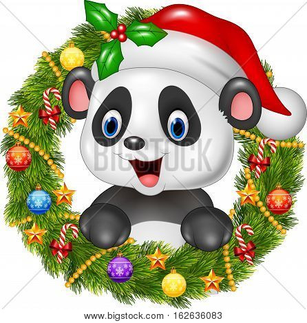 Vector illustration of Christmas wreath with happy panda bear