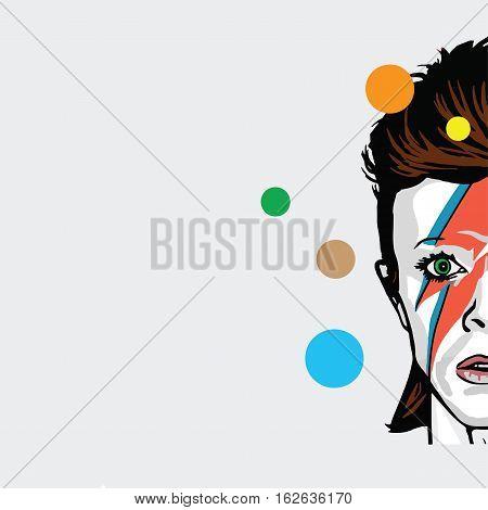 David Bowie Pop Art Vector Portrait Illustration. December 22, 2016