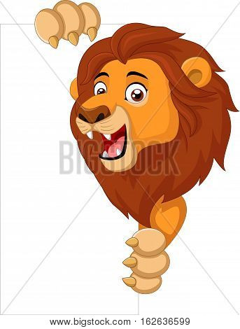 Vector illustration of Cartoon lion holding blank sign