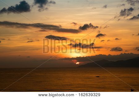 A colourful sunrise over the south China sea of the coast of Vietnam.
