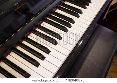 Piano keyboard colse up side view stock photo