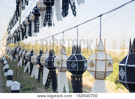 Traditional lantern Thai lanna northern of Thailand color black and white lifeless concept stock photo