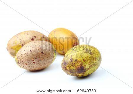 Olive fresh fruit or Spondias pinnata or hog plum fruit on white background.