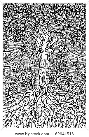 Dryad or Nymph in the forest. Fantasy magic creatures collection. Hand drawn vector illustration. Engraved line art drawing, graphic mythical doodle. Template for card game, poster