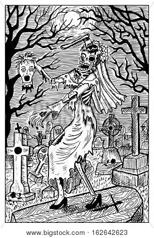 Zombie bride with groom head on cemetery. Fantasy magic creatures collection. Hand drawn vector illustration. Engraved line art drawing, graphic mythical doodle. Template for card game, poster