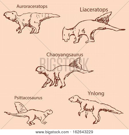Dinosaurs with names. Pencil sketch by hand. Vintage colors. Vector image