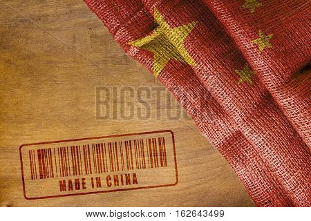 China's State flag and the stamp imprint of Made In China.