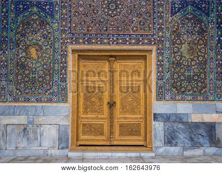 Carved wooden door Samarkand Uzbekistan 2016 March