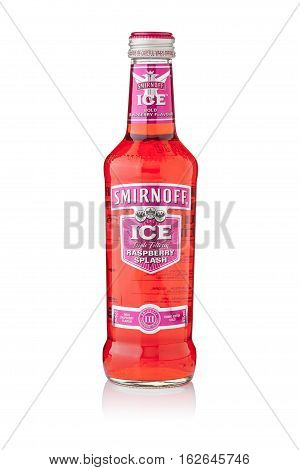 Bangkok, Thailand - Sep 15, 2015 : A Single Bottle Of Smirnoff Ice Raspberry Splash. Established Aro