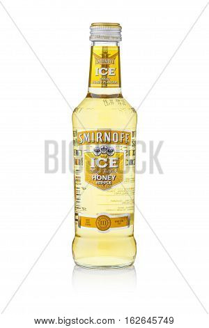 Bangkok, Thailand - Sep 15, 2015 : A Single Bottle Of Smirnoff Ice Honey Apple. Established Around 1