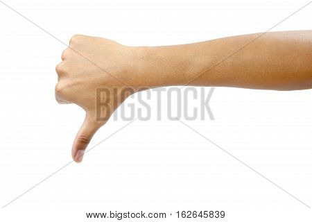 Man's hand making sign dislike isolated on white background with clipping path.