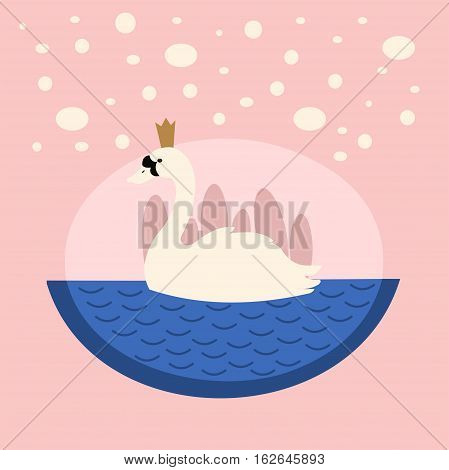 Cute illustration of a Swan Princess. Option for Valentine's day or other holiday.