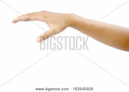Covering man's hand isolated on white background with clipping path.