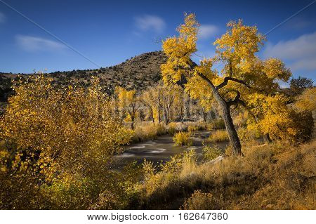 Carson River In Nevada During Fall. Daylight Long Exposure To Render The Water As Smooth.